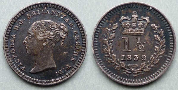 Queen Victoria, 1839 three-halfpence