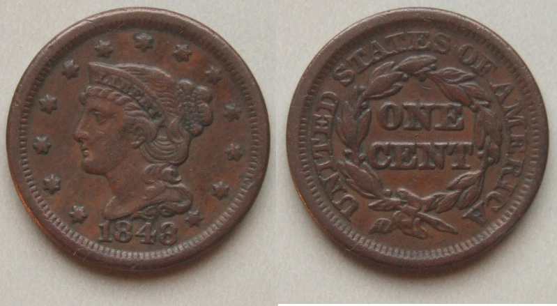 1848 braided hair large cent/penny