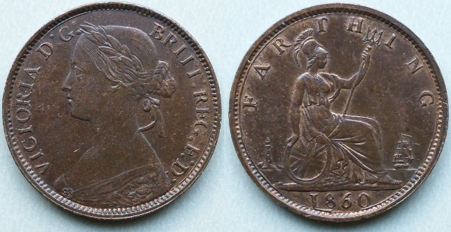 Queen Victoria, 1860 Toothed Border Farthing, 4 berries