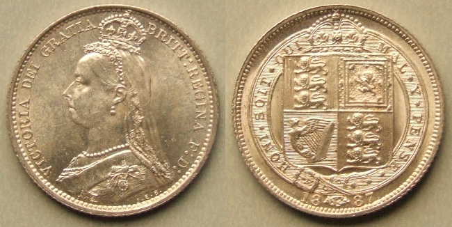Queen Victoria, 1887 Shield in Garter sixpence