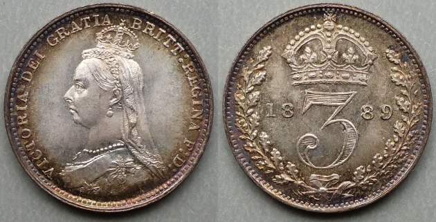 Queen Victoria, 1889 Silver Joey, currency threepence