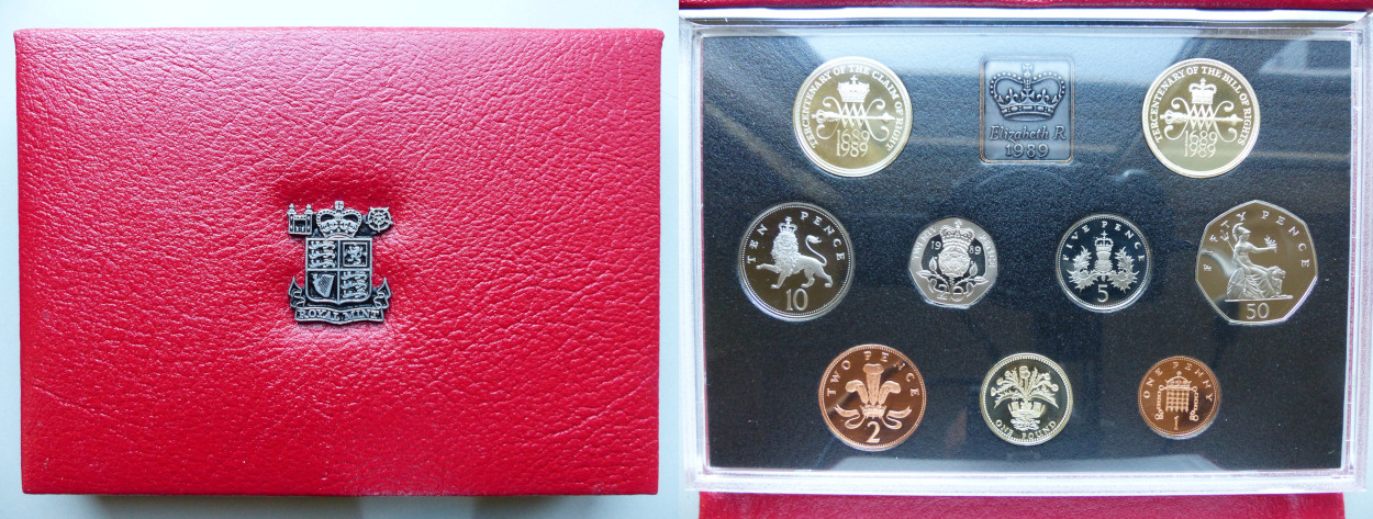 1989 UK Proof Coin Collection red leather case Claim of Right £2
