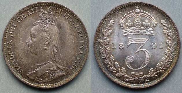 Queen Victoria, 1891 Silver Joey, currency threepence
