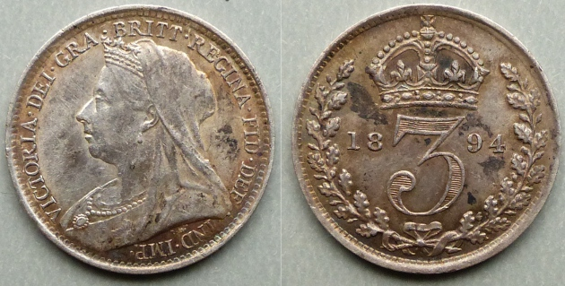 Queen Victoria, 1894 Silver Joey, currency threepence