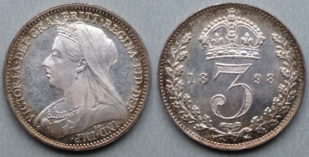 Queen Victoria, 1898 Silver Joey, currency threepence