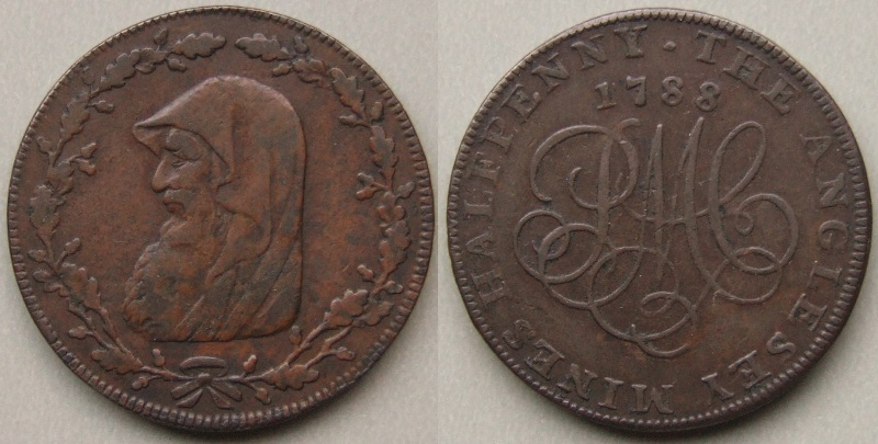 Anglesey Mines 1788 Druid head halfpenny token D&H 338
