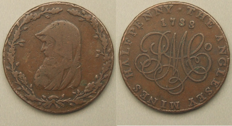 Anglesey Mines 1788 Druid head halfpenny token D&H 281