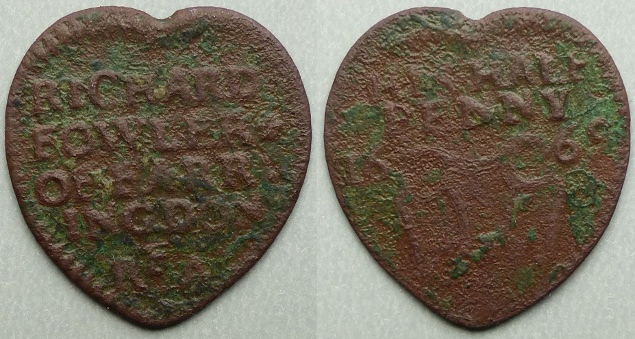Faringdon, Richard Fowler heart-shaped 1669 halfpenny token
