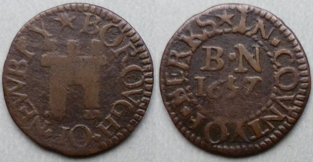 Newbury, Borough issue 1657 farthing three turrets N109