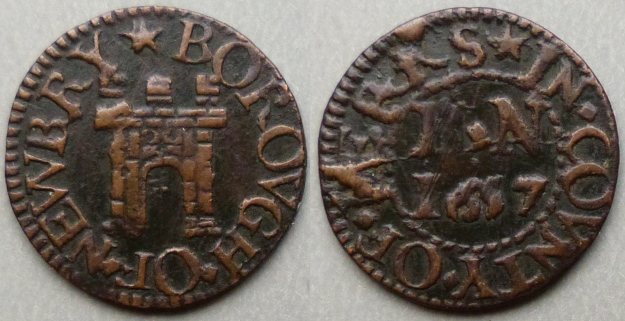 Newbury, Borough issue 1657 farthing three turrets N110