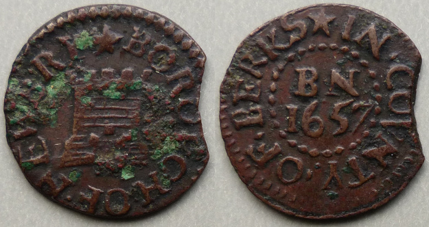 Newbury, Borough issue 1657 five turrets farthing N116
