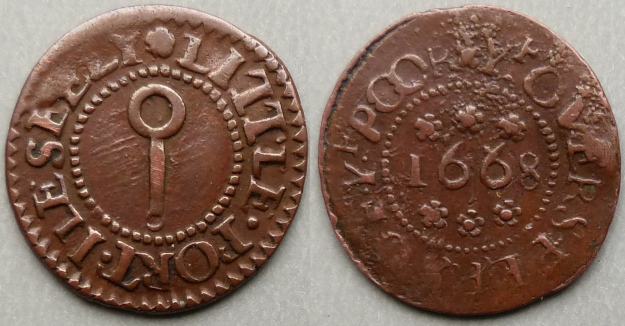 Littleport, corporation issue 1668 farthing variant N---