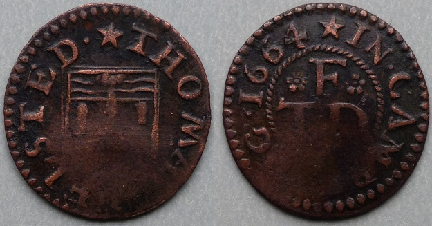 Cambridge, Thomas Felsted 1664 farthing N385