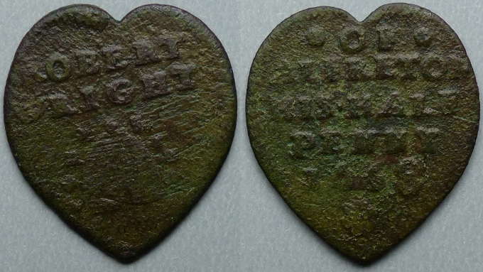 Alfreton, Robert Wright heart-shaped 1668 halfpenny