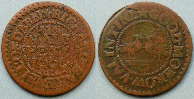 Derby, Richard Bakewell GOOD MORROW VALINTINE 1666 halfpenny
