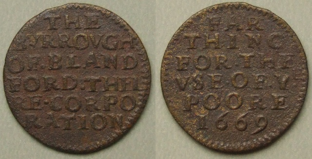 Blandford, 1669 Corporation farthing