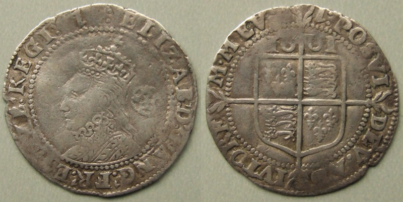 Elizabeth I, 1601 sixpence, seventh issue, mm 1