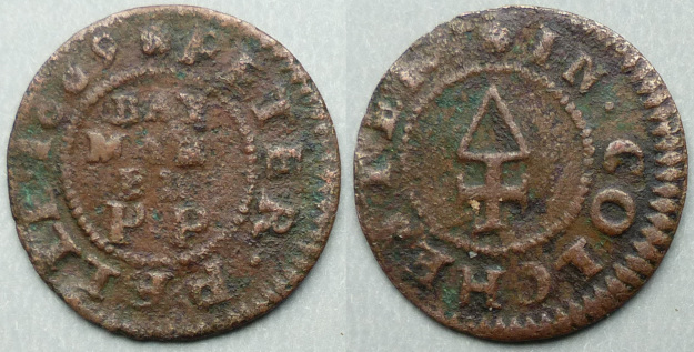 Colchester, Peter Pelle 1669 farthing