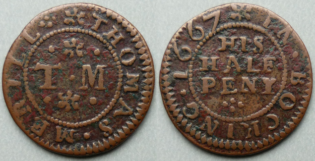 Bocking, Thomas Merill 1667 halfpenny