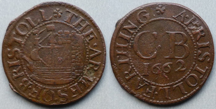 Bristol, city issue 1662 farthing N1554, no R signature
