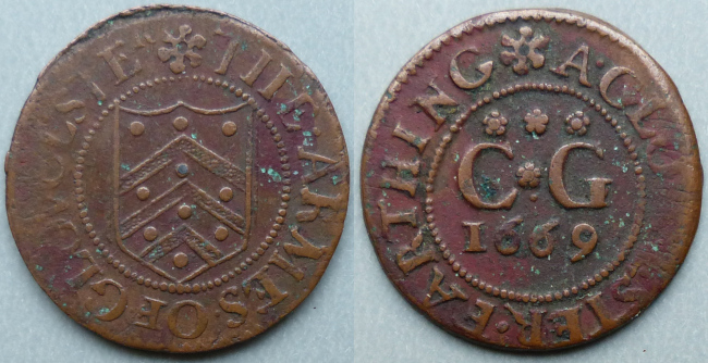 Gloucester, city issue 1669 farthing N1660