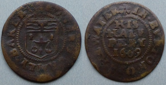 Boughton-on-the-Water, Edward Lamly 1669 halfpenny