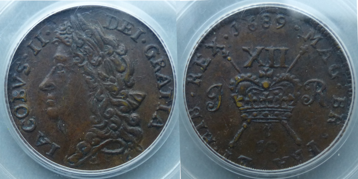 James II, Gunmoney shilling J0 r (December) PCGS AU58