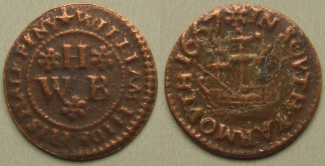 Yarmouth, Isle of Wight, William Hide 1667 halfpenny N2046
