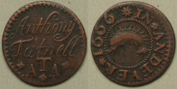 Andover, Anthony Tatnell 1666 trade farthing