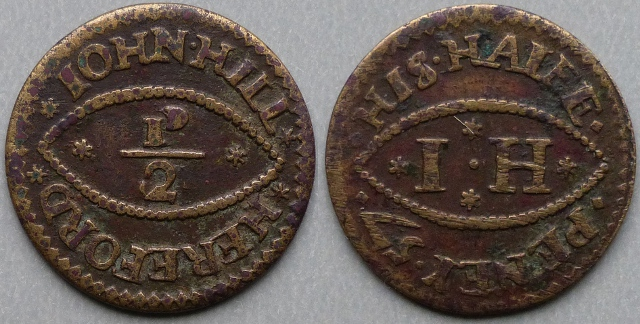 Hereford, John Hill 1657 halfpenny