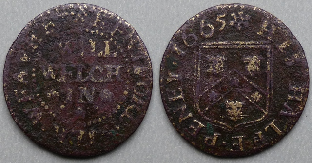 Hereford, Will Welch 1665 halfpenny, silk weaver