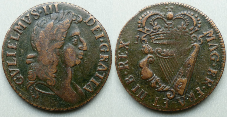 William III, 1696 halfpenny, cruder undraped bust