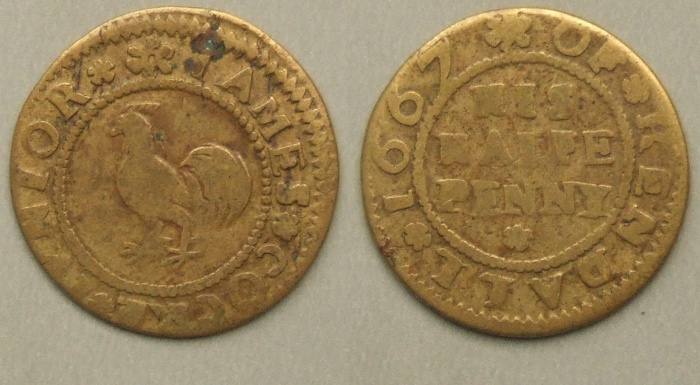 Kendal, James Cocke Junior halfpenny 1667