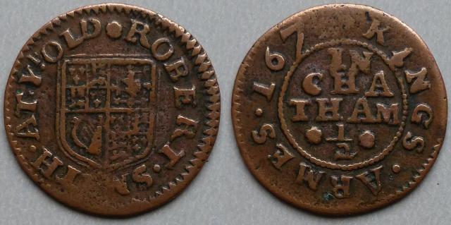 Chatham, Robert Smith 1671 halfpenny AT YE OLD KINGS ARMES