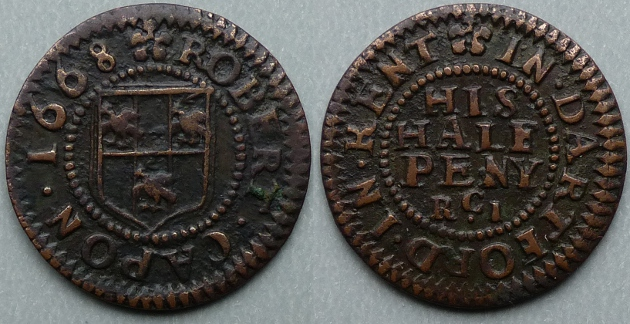 Dartford, Robert Capon 1668 halfpenny token