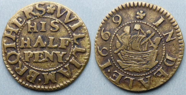 Deal, William Brothers 1669 halfpenny