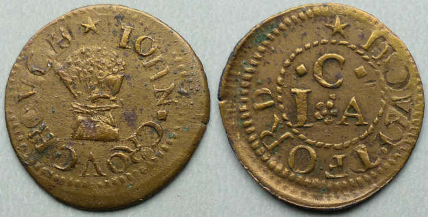 Deptford, John Crouch 1658 farthing, partial brockage