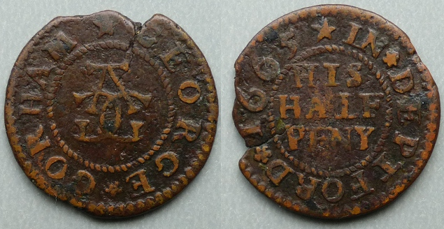 Deptford, George Gorham 1665 halfpenny token