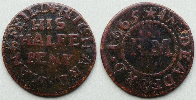 Deptford, RICHARD MANSFEILD 1665 halfpenny token