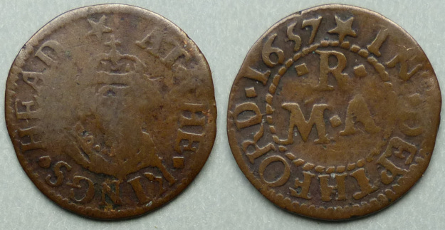 Deptford, M R (A) AT THE KINGS HEAD 1657 farthing