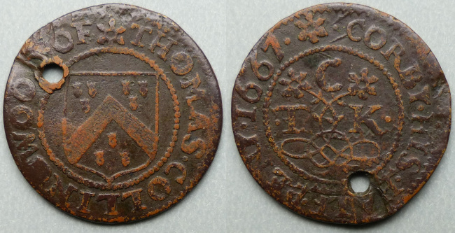 Corby Glen, Thomas Collingwood 1667 halfpenny