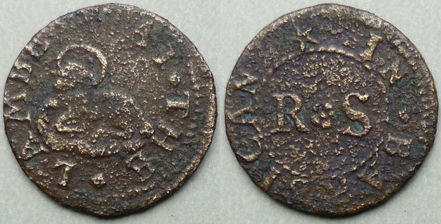 Barbican, R S AT THE LAMBE farthing token