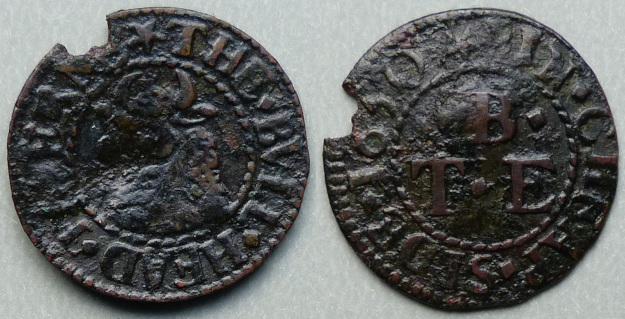 Cheapside, T B (E) THE BVLL HEAD TAVERNE 1650 farthing