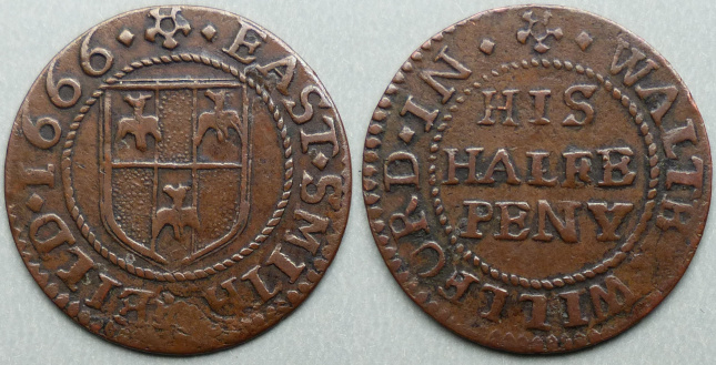 East Smithfield, Walter Willford 1666 halfpenny
