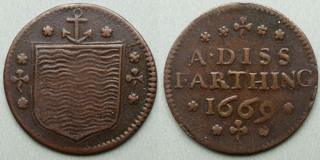 Diss, Town Issue 1669 farthing token