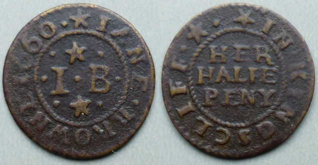 King's Cliffe, Jane Browne 1660 halfpenny