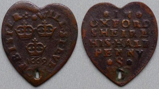 Bicester, Will Stevens heart-shaped 1669 halfpenny