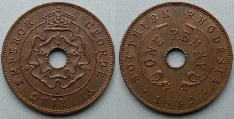 Southern Rhodesia 1942 bronze penny