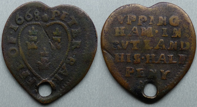 Uppingham, Peter Barriffe heart-shaped 1668 halfpenny