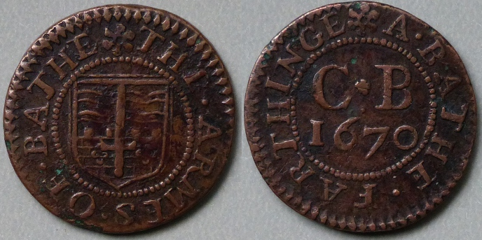 Bath, city issue 1670 farthing N3952